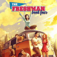 Chris on the cover of The Freshman, Book 4
