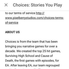 Choices App Info Part I