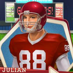 Football uniform with helmet