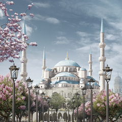 Painting of the Blue Mosque in Constantinople