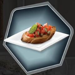 Bruschetta food prop as sen in Ch. 11