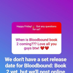 Update on Bloodbound Book 2 from Insta