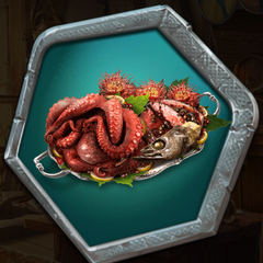 Orcish Feast (Roasted Octopus, Chargrilled Meat stuffed with Sea Berries, and Fried Fish Heads)