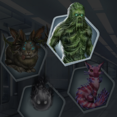 Creatures in Langdon's Facility. In order, Jackalope, Swamp Creature, Unidentified, Shadow Ball Monster|Different Monsters in Ch. 4]