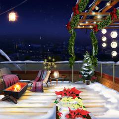 Dorm Rooftop at night, winter