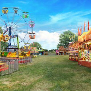 Fairground with rides