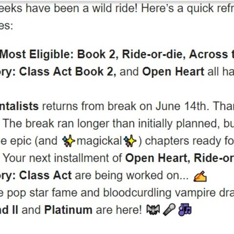 Confirmation of Book 2 Being Worked on in June Newsletter