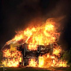 Oakley Barn in flames