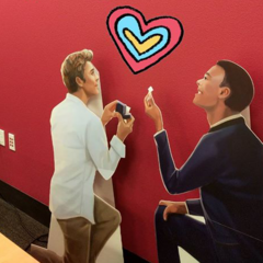 Life Size Cut outs of European Guy and Business Guy at Pixelberry HQ proposing