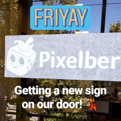 Pixelberry sign being put up