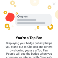 Top Choices Fan Badge on Choices FB Group