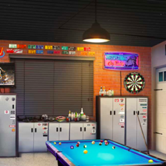 Pool table and kitchen in the autoshop's backroom