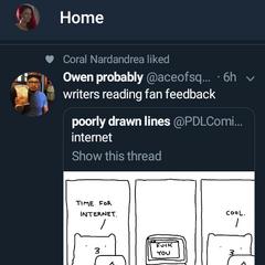 Owen's Tweet about writers receiving fan feedback