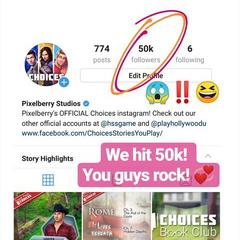50K followers on Instagram