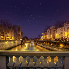 The Seine River in Paris France at night
