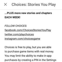Choices App Info Part VI