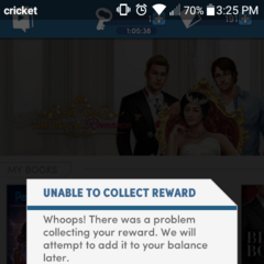 Unable to Collect Reward Message