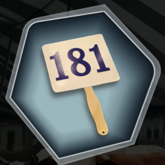 Auction Paddle; Lucky Number 181 as seen in Ch. 8