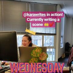 Kara writing a scene on 02-27-2019