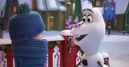 Olaf with candy cane nose