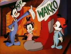 Wakko has a giant Christmas stocking
