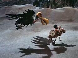 Aeon chasing Rudolph, Ticker, and Quart