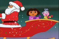Dora And Boots Are Laughing On Holly Jolly Sleigh