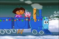 Dora and boots are on a train