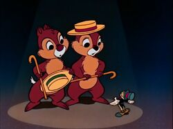 Jiminy with Chip and Dale
