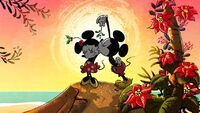 Mickey, Minnie, and mistletoe