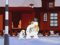 Frosty gets off the train