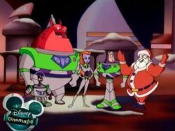 Buzz and the gang with Santa