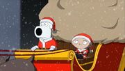Brian and Stewie dressed as Santa