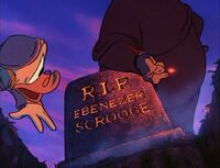 Pete shows Scrooge his own grave