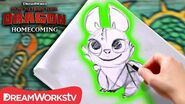 How to Draw a NightLight (Baby Dragon) HOW TO TRAIN YOUR DRAGON - HOMECOMING