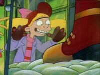 Helga looking at snow boots