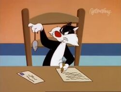Sylvester always gets a rubber mouse