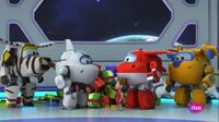 Super Wings and Nicole in a spaceship