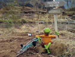 Kermit at the beginning of Emmet Otter's Jug-Band Christmas