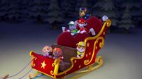 Paw Patrol Pups on a sleigh