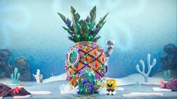 SpongeBob decorating his house