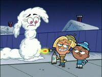 Vicky as a snowman
