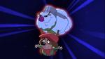 A snowman lifts Tiny Tim