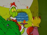 Cindy catches the Grinch taking her tree