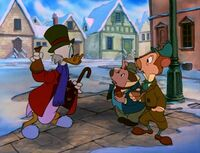 Scrooge giving money to Ratty and Mole