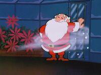 Santa opens the door