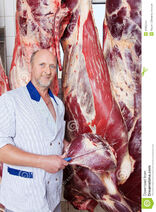 Happy-butcher-holding-knife-near-cow-carcass-middle-aged-large-hanging-inside-butchery-31302754