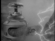 Robby electrocuted in 'War of the Robots'