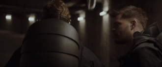 Wes Chatham (right) in The Hunger Games- Mockingjay - Part 2