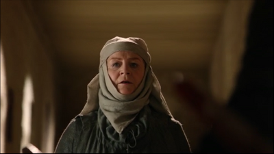 Susan Brown just before her death in Game of Thrones-The Pointy End